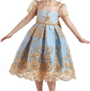 Girls's Lace Embroidered Backless Christmas Dress
